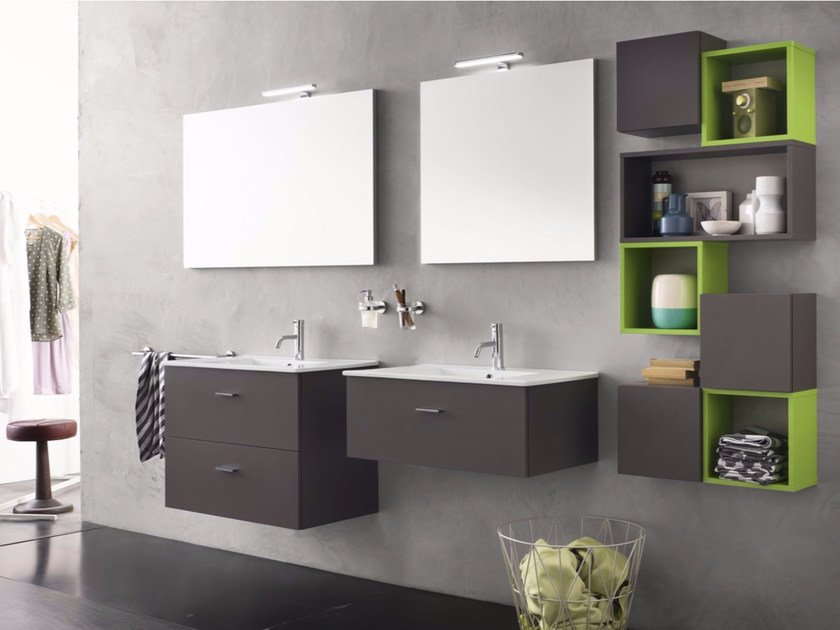 Laminate bathroom cabinet / vanity unit CITY - Composizione 2 by INDA®