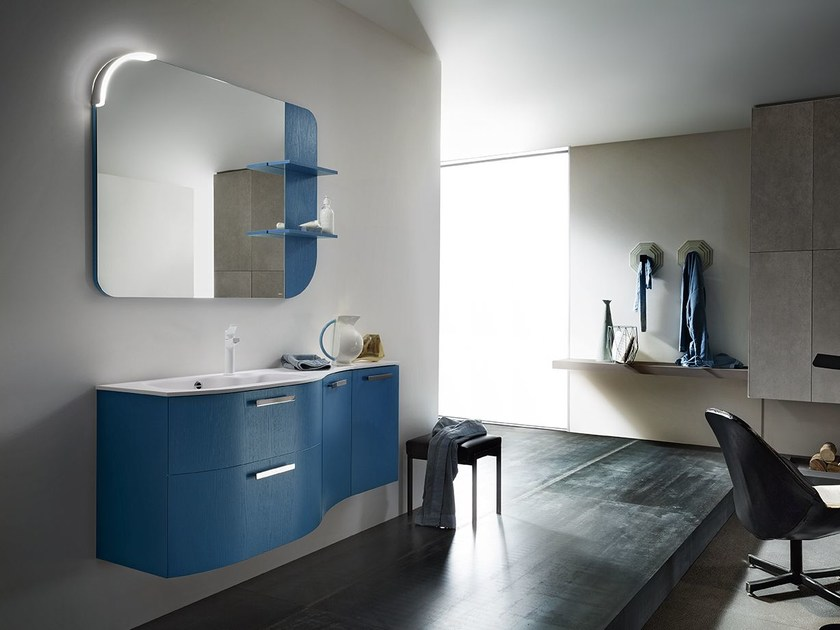 Lacquered single wall-mounted vanity unit CITY PLAY 178/179 by Cerasa