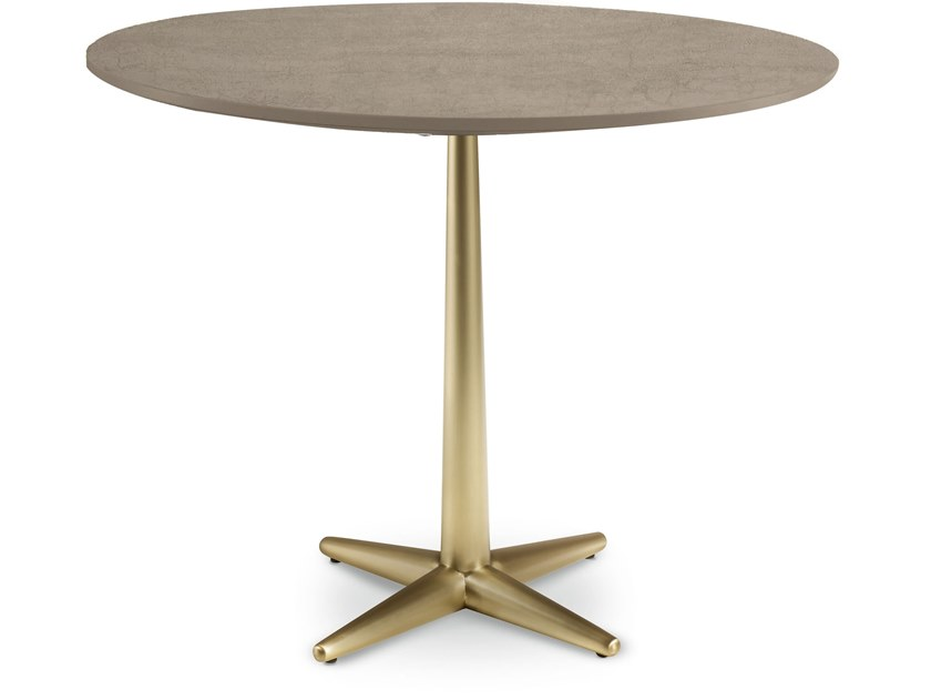 Round wooden table with 4-star base CITY | Round table by Cantori