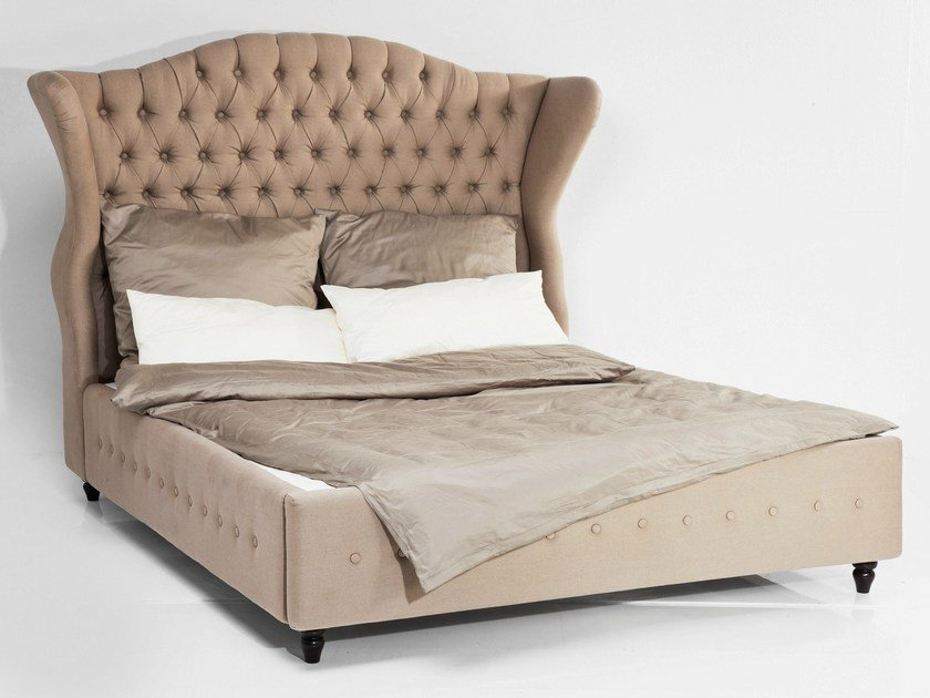 Fabric double bed with tufted headboard CITY SPIRIT LINEN NATURAL by KARE-DESIGN