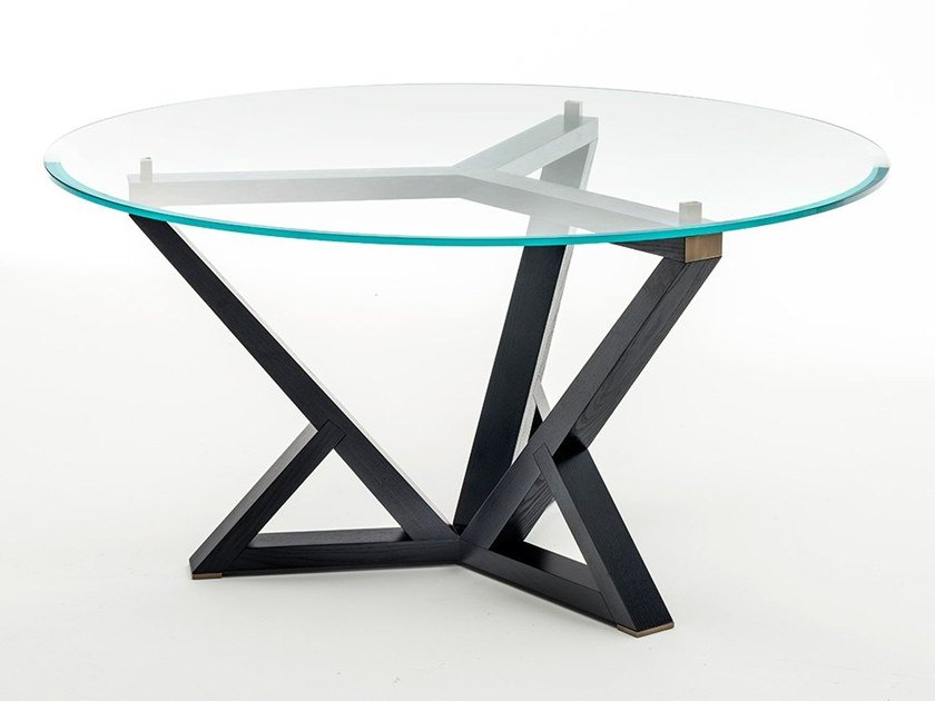 Round wood and glass table CITYLIFE | Round table by OAK