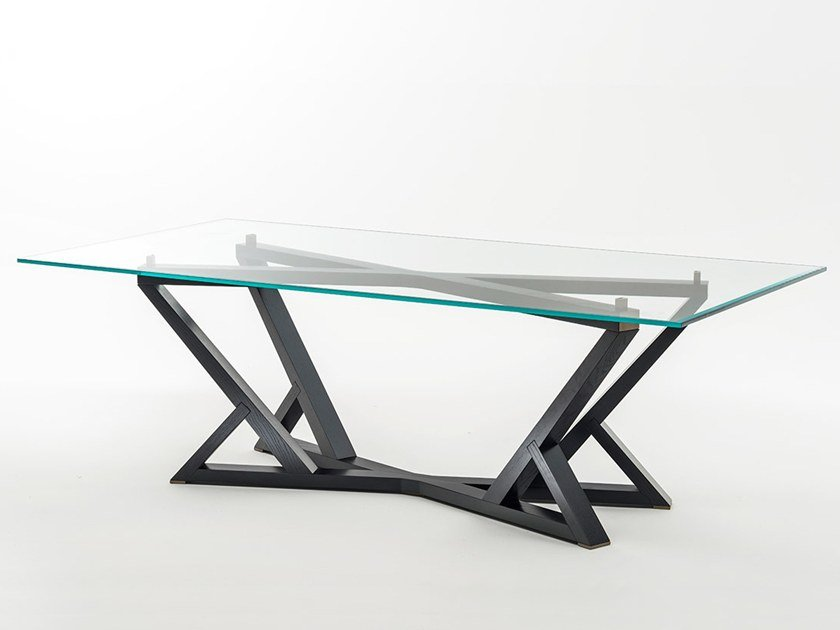 Rectangular wood and glass dining table CITYLIFE | Rectangular table by OAK