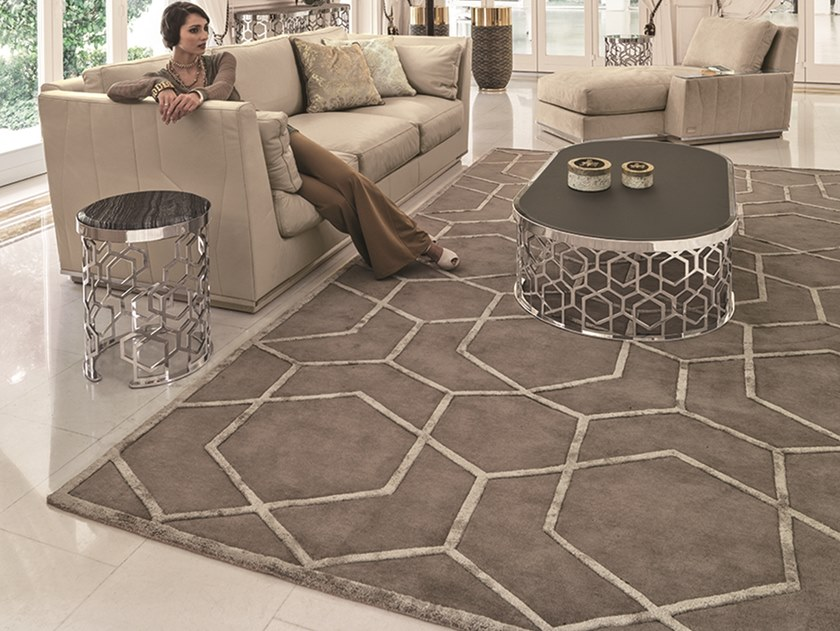 Rectangular fabric rug with geometric shapes CLAIRE by Longhi