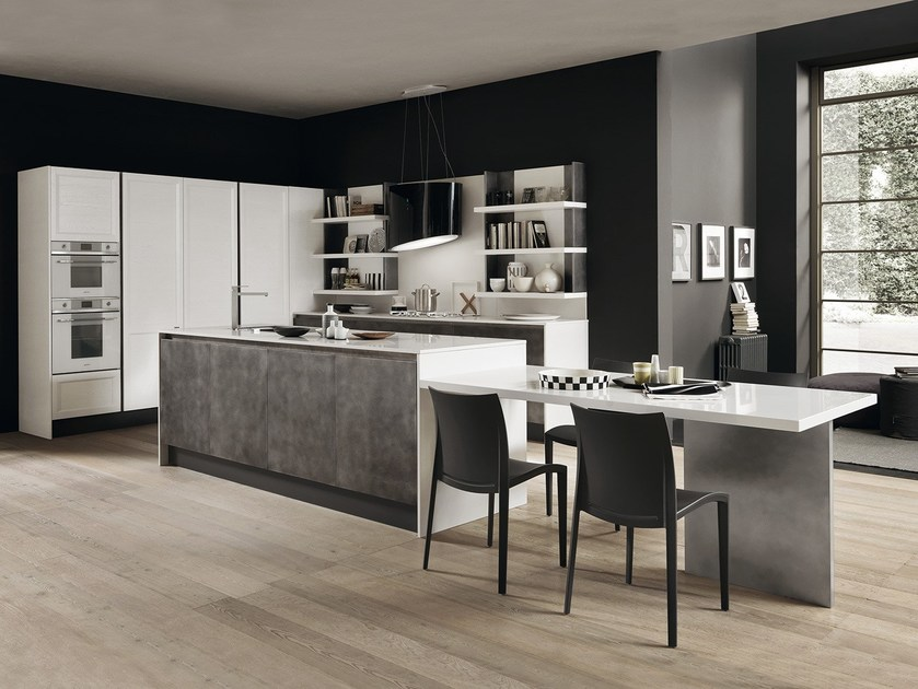 Fitted kitchen with island CLASS | Fenix-NTM® kitchen by Febal Casa