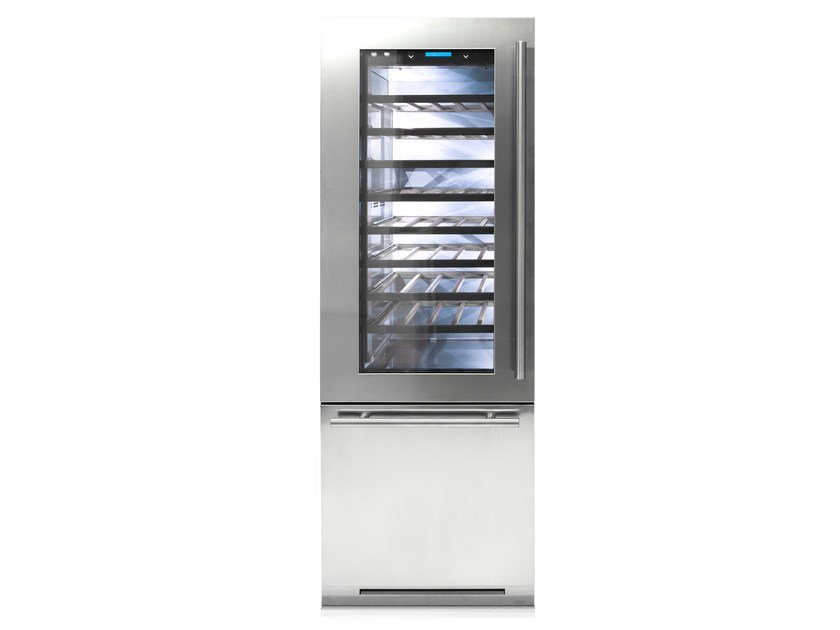 Built-in stainless steel Wine cooler with glass door with built-in lights Class A CLASSIC 75 | Wine cooler by FHIABA