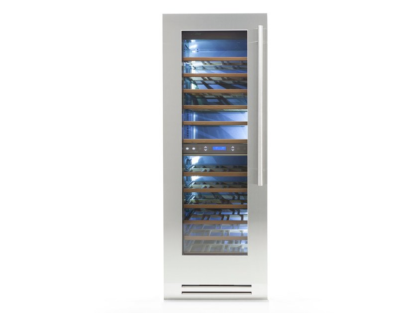 Wine cooler with glass door with built-in lights CLASSIC 75 | Glass and Stainless Steel wine cooler by FHIABA