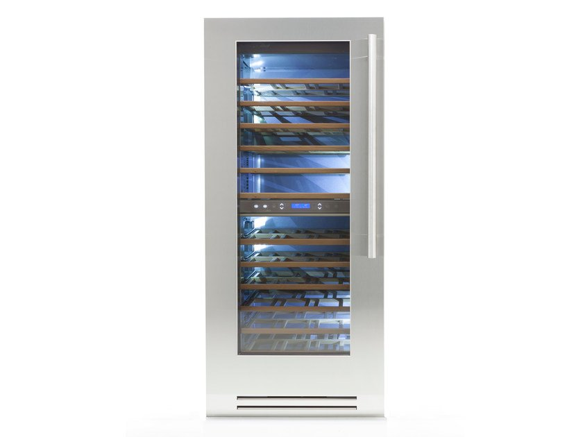 Upright Glass and Stainless Steel wine cooler with glass door CLASSIC 90 | Glass and Stainless Steel by FHIABA