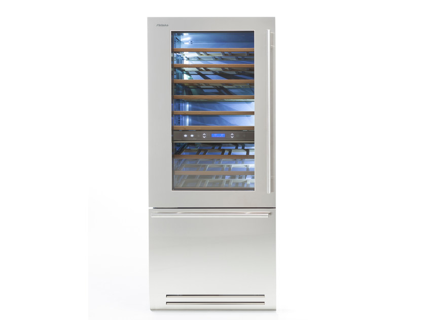Upright wine cooler with glass door with built-in lights CLASSIC 90 | Wine cooler by FHIABA