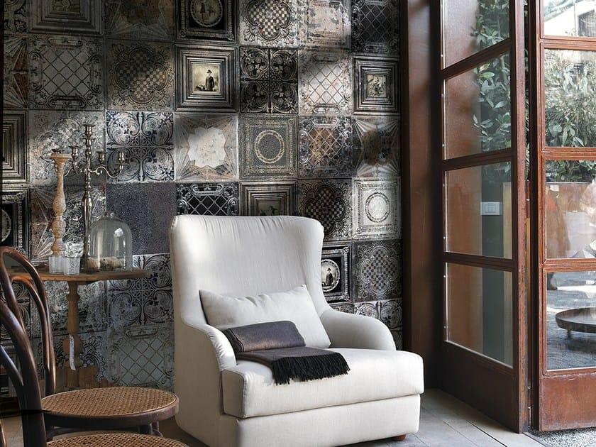 Wallpaper with encaustic effect CLASSIC FRAMES by Adriani e Rossi edizioni