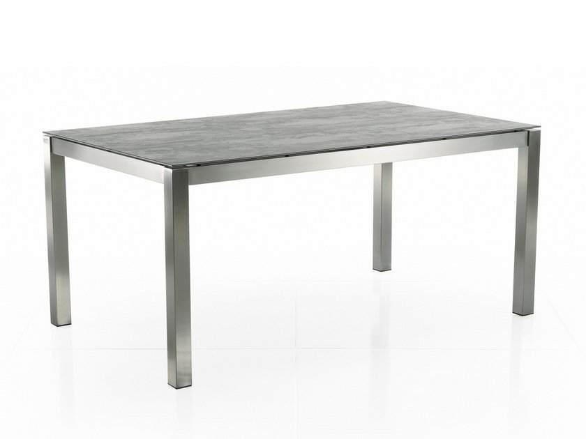 Rectangular Ceramic Garden Table Clic Stainless Steel By Solpuri