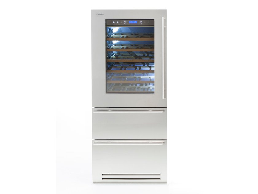 Wine cooler with drawers with glass door CLASSIC 90   Upright wine cooler by FHIABA