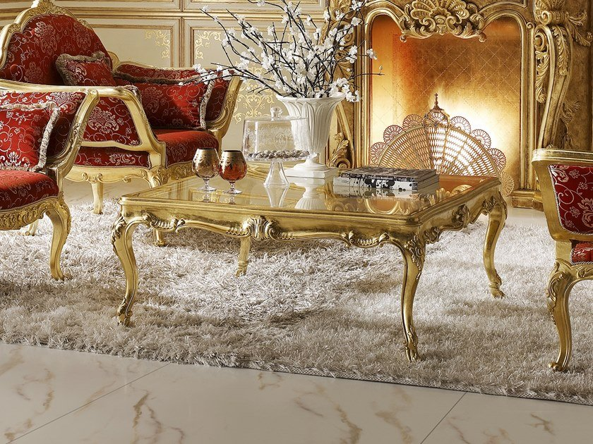 Square gold leaf coffee table CLASSICO | Coffee table by Andrea Fanfani