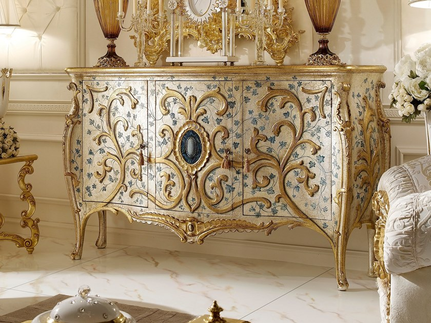 Gold leaf highboard with doors OPERA | Gold leaf highboard by Andrea Fanfani