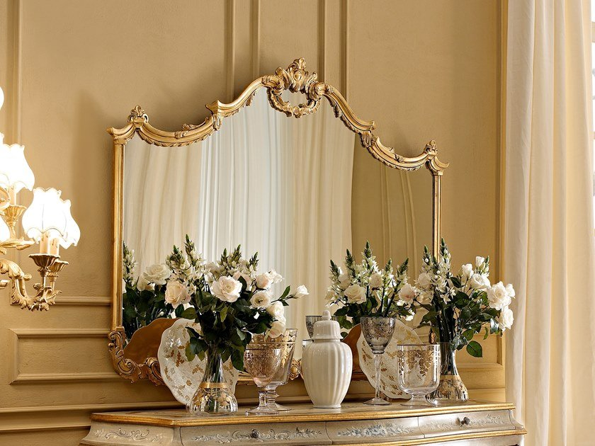 Wall-mounted gold leaf mirror CLASSICO | Wall-mounted mirror by Andrea Fanfani