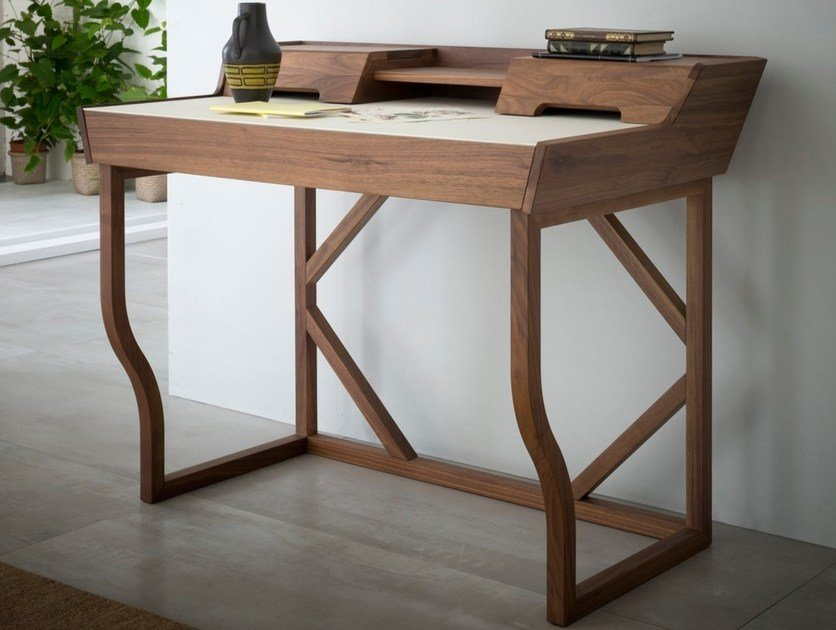 Walnut secretary desk with drawers CLEO by Palù Mario