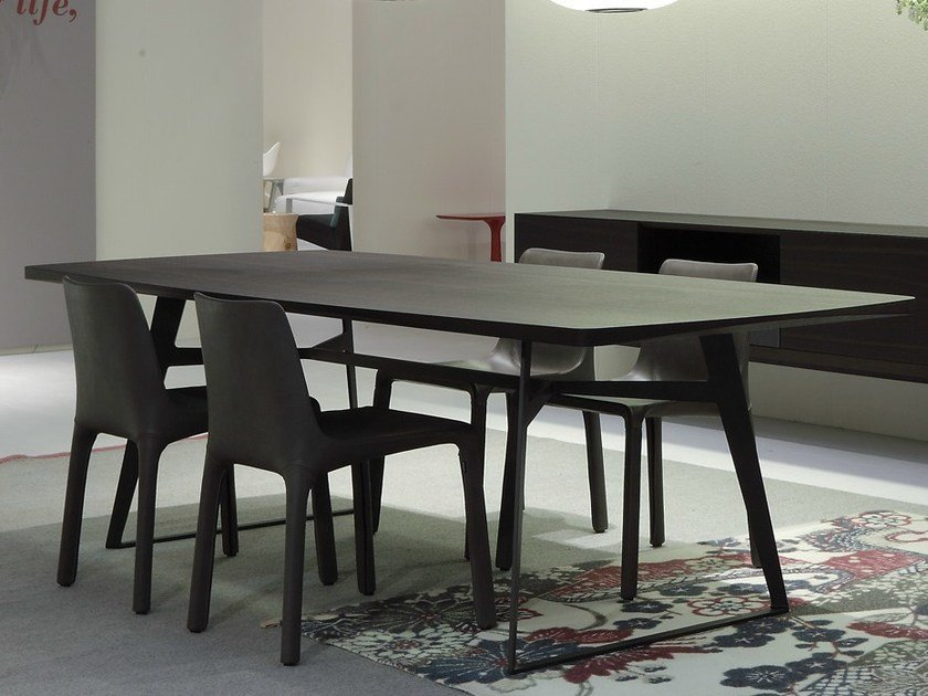 Rectangular wood veneer table CLIPPER | Table by poliform