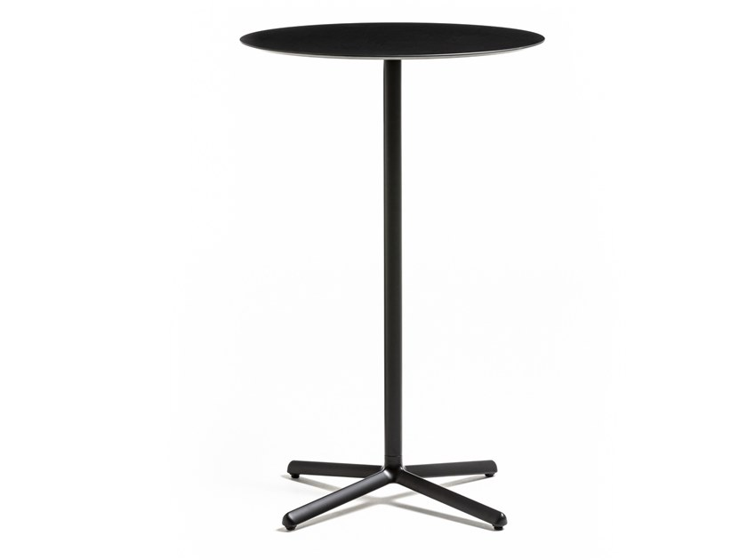 Die cast aluminium high table with 4-star base CLIVO 108 by arrmet