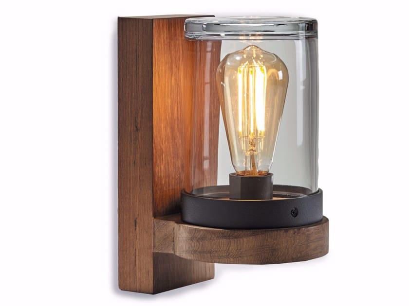 Lampada da parete a luce diretta in teak CLOCHE by ROYAL BOTANIA