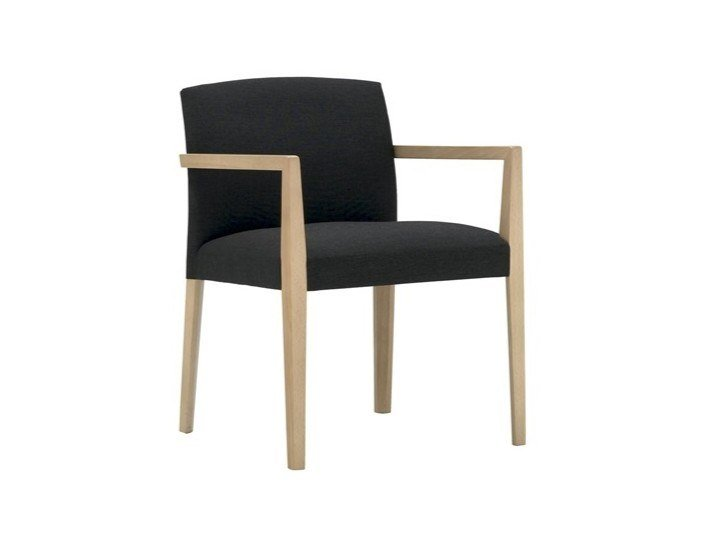 Upholstered fabric chair with armrests CLOÉ SO7017 by Andreu World