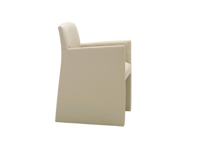 Upholstered leather chair with armrests CLOÉ SO7020 by Andreu World