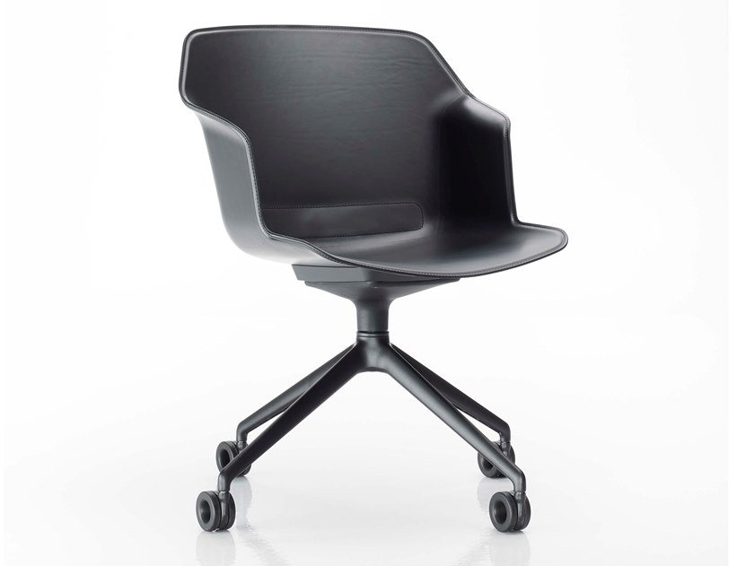 Tanned leather task chair with casters CLOP | Task chair with casters by Diemme