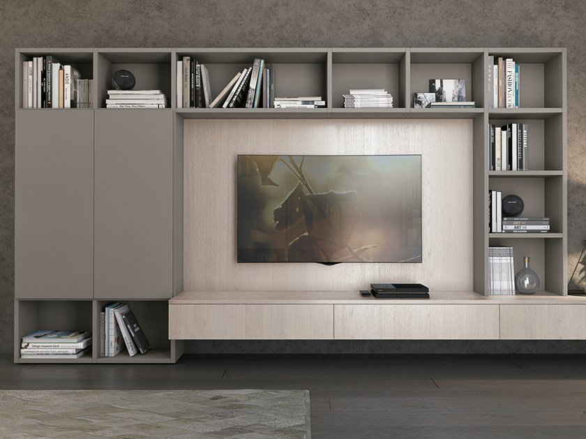 Sectional lacquered storage wall CLOVER BRIDGE LIVING by Cucine Lube