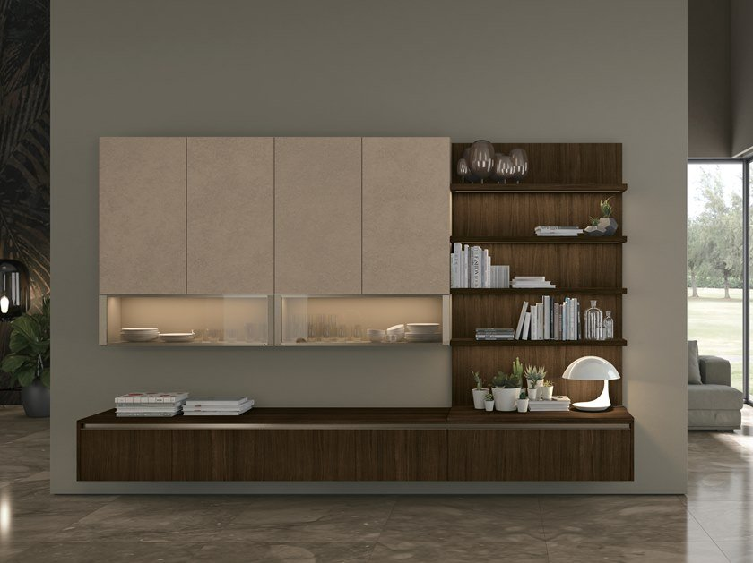Sectional lacquered storage wall CLOVER LUX LIVING by Cucine Lube