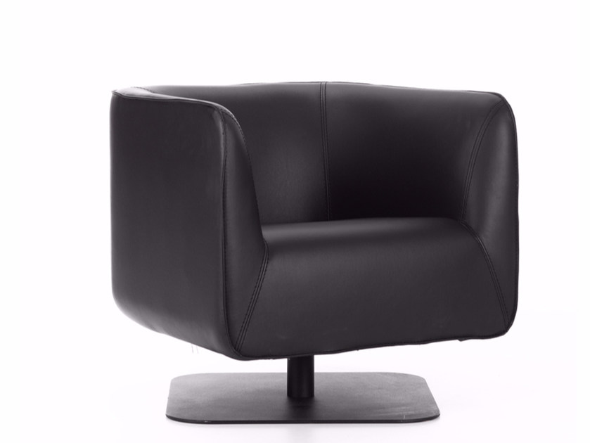 Swivel Leather Armchair With Armrests CLUB CHAIR | Swivel Armchair By Ersa