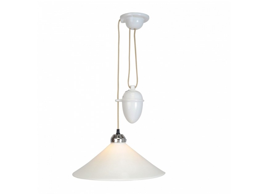 Adjustable porcelain pendant lamp with dimmer COBB RISE & FALL LARGE by Original BTC