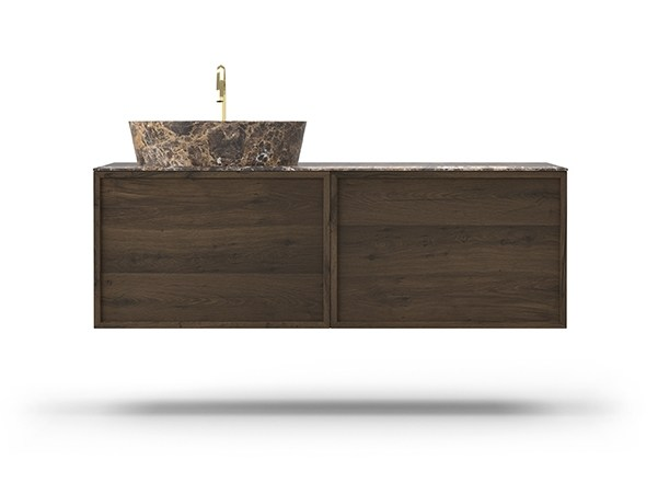 Single wall-mounted oak vanity unit COCÒ 035/2 | Vanity unit by Callesella Arredamenti