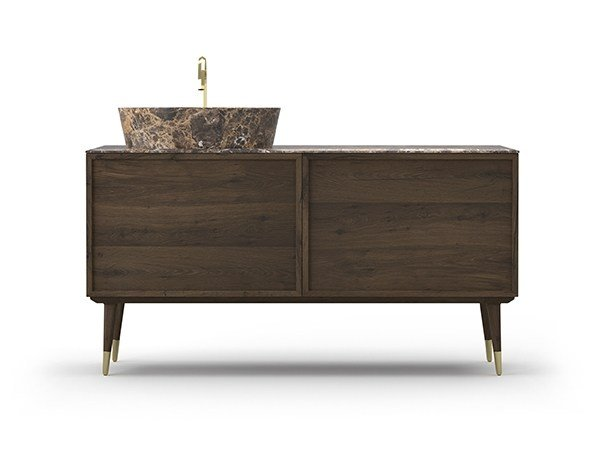 Single oak vanity unit COCÒ 035/2T | Vanity unit by Callesella Arredamenti