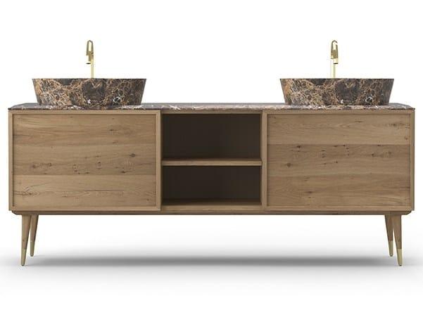 Double oak vanity unit COCÒ 038/2T | Vanity unit by Callesella Arredamenti