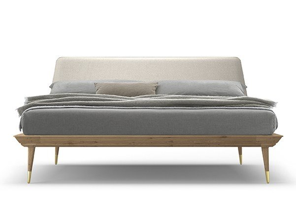 Oak double bed with upholstered headboard COCÒ 085 | Bed by Callesella Arredamenti