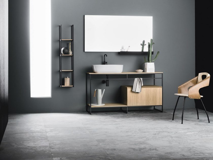 Floor-standing vanity unit CODE MONO 14 by Arbi Arredobagno