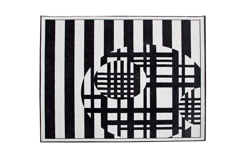 Handmade rectangular wool rug with geometric shapes CODE by ROCHE BOBOIS