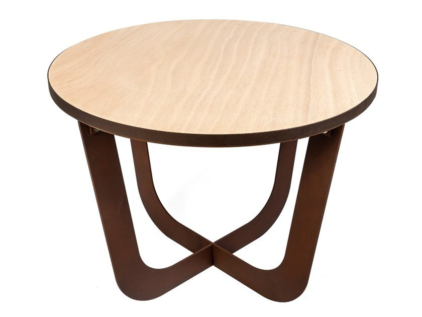 Round Corten™ and Okoumé wood coffee table COFFEE | Round coffee table by TrackDesign