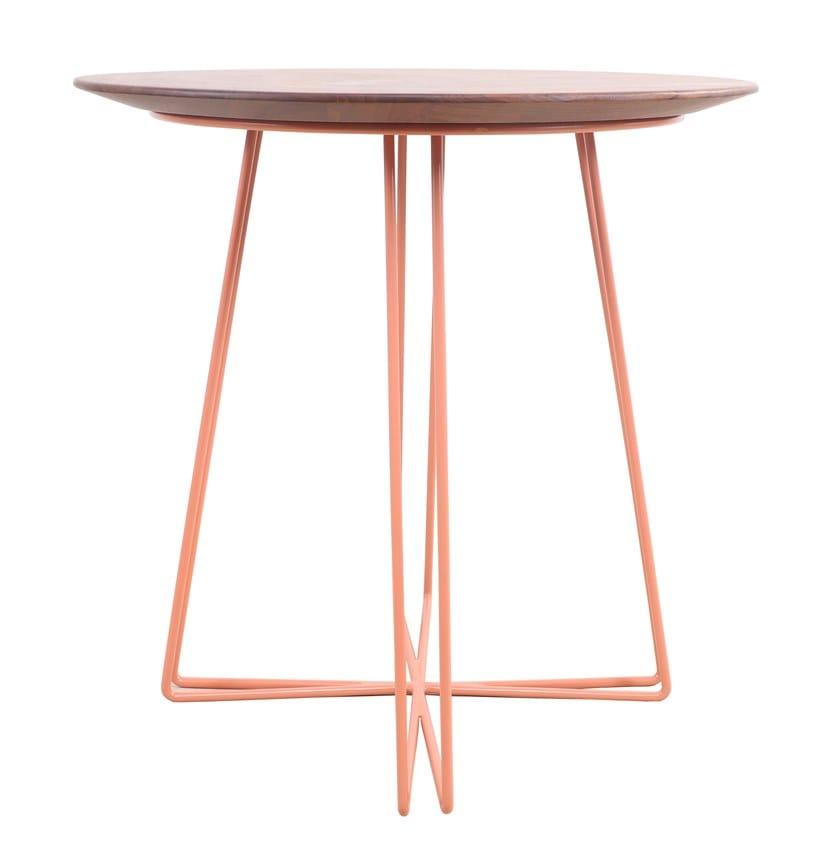 Round teak and metal coffee table SIRIRI   Round coffee table by ALANKARAM