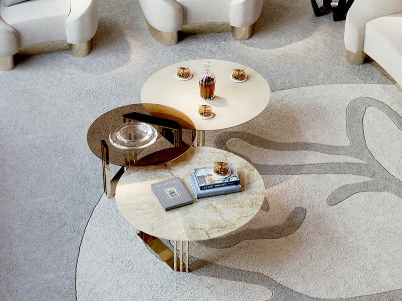 Round marble coffee table for living room SYMPHONY - INFINITY | Coffee table by Bizzotto
