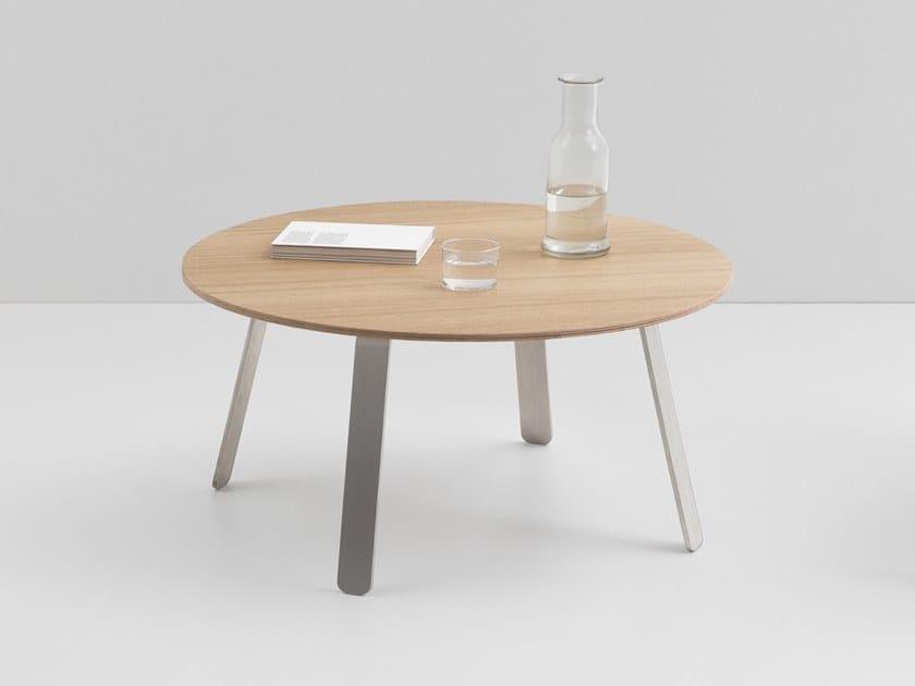 Mesa de centro redonda em aço e madeira SPRINGBACK | Mesa de centro by CRUSO