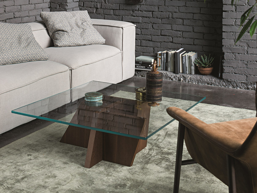 Low wood and glass coffee table STRIPE | Coffee table by Dall'Agnese