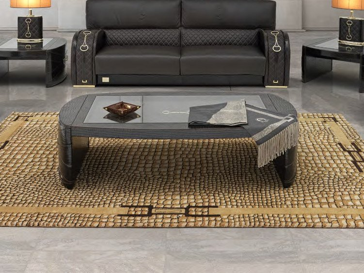 Low rectangular leather coffee table for living room TEXAS PLUS   Rectangular coffee table by Formitalia