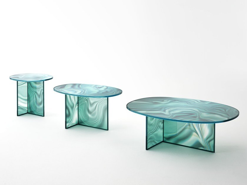 Oval crystal coffee table LIQUEFY | Coffee table by Glas Italia