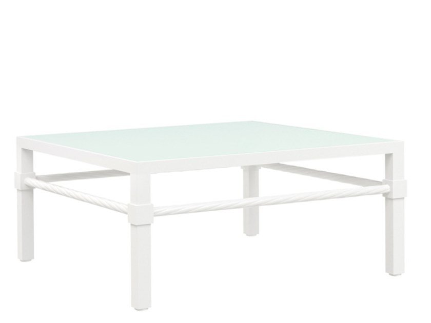 Square glass and aluminium garden side table PALMIA | Coffee table by JANUS et Cie