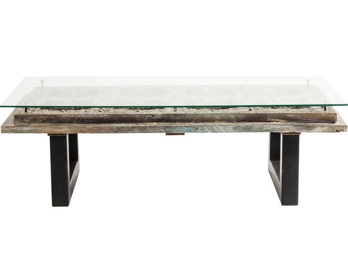 Rectangular wood and glass coffee table KALIF | Coffee table by KARE-DESIGN
