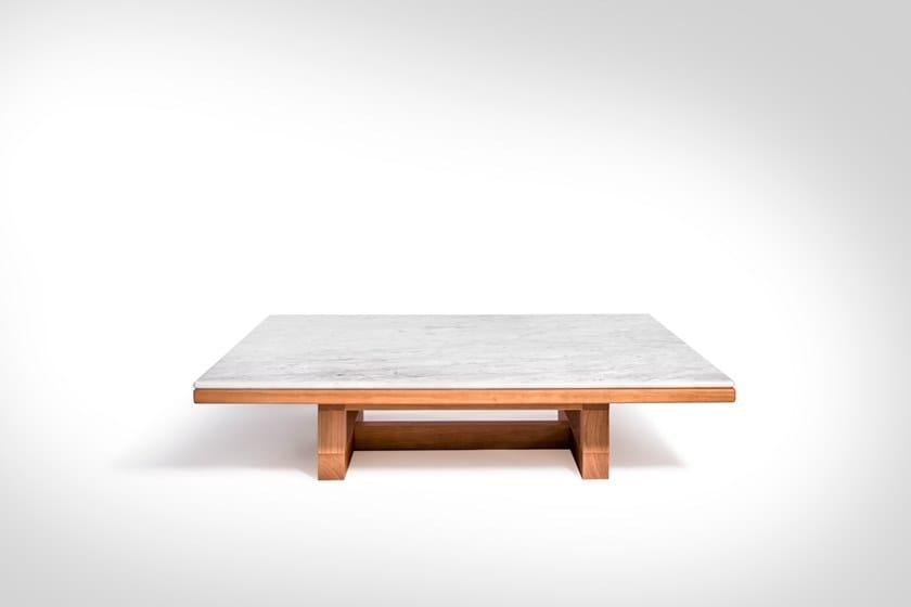 Tavolo Quadrato Legno E Marmo.Span Tavolino