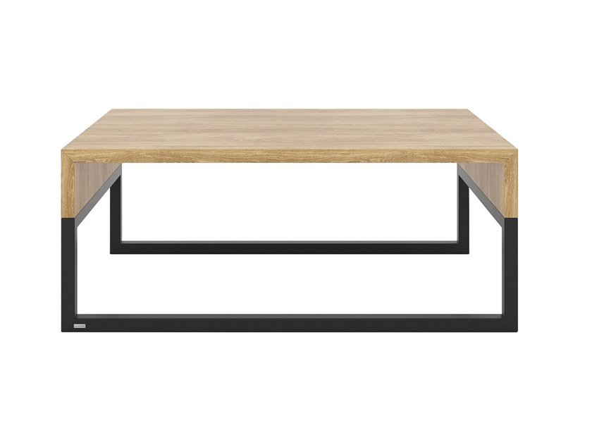 Sled base rectangular steel and wood coffee table WOODBOX | Coffee table by take me HOME