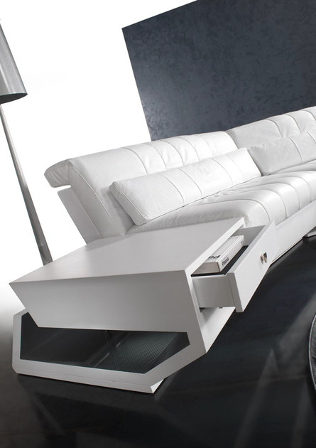 Low leather coffee table with storage space VALENCIA | Coffee table by Tonino Lamborghini Casa