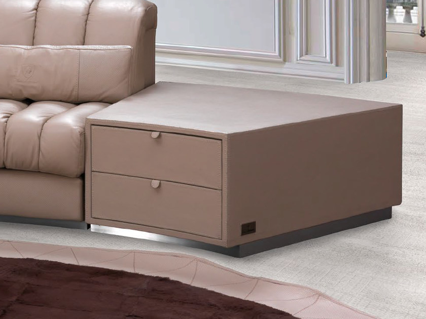 Low leather coffee table with storage space ZOLDER | Coffee table by Tonino Lamborghini Casa