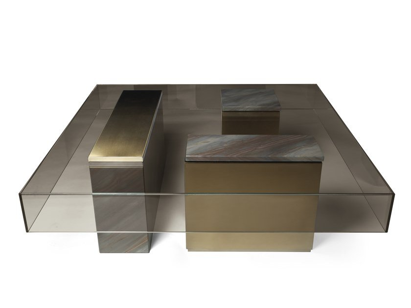 Low glass coffee table for living room MARTY | Coffee table by Visionnaire