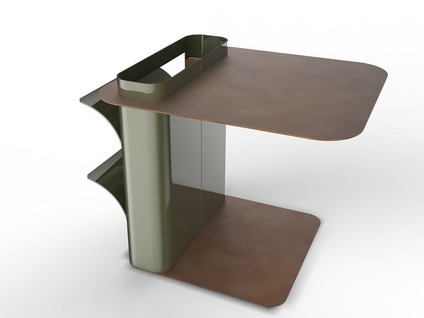 Lacquered steel coffee table with integrated magazine rack DAD | Coffee table with integrated magazine rack by TrackDesign